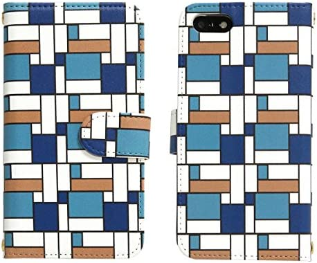 スマホケース 全機種対応 手帳型【AQUOS PHONE ZETA SH-01F ブルーコーナーパターン】かわいい 幾何学模様
