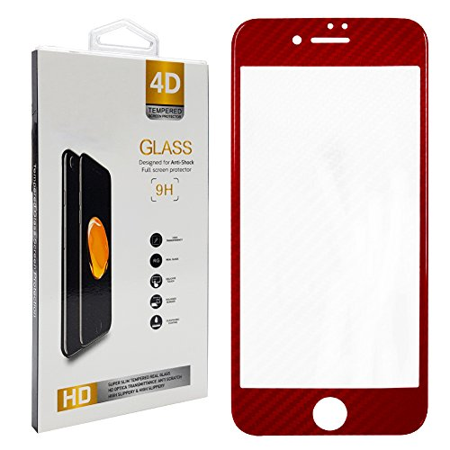 エンジニアリング司書延ばす強化ガラス保護フィルム iPhone8用 表面硬度9H 厚さ0.33mm iPhone8 カーボン調 ソフトフレームガラス (カーボンレッド)