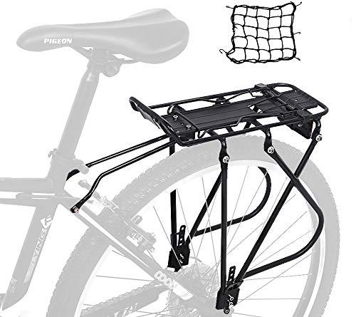Dirza Bike Cargo Rack Rear Bike Rack for Back of Bike – Height Adjustable for 24″-27″ Frames – for Non-Disc Brake Bike – 55 lbs Capacity