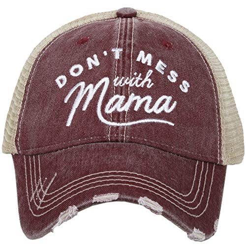 Katydid Womens Don't Mess with Mama Trucker Hat, Wine