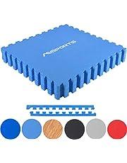 MSPORTS Bodenschutzmatten Set Premium - 8 Schutzmatten 3,175m²   Bodenschutz 60x60 cm inkl. Endstücke   Stärke: 1,2 cm   Puzzlematten Gymnastikmatte