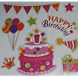 Happy Birthday Magnet Pink Set Of 9