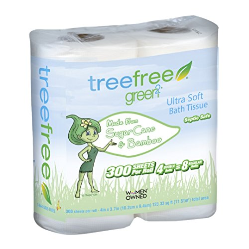 - Green2 100% Tree Free 300-Sheet 2-Ply Bathroom Tissue, 96 Count