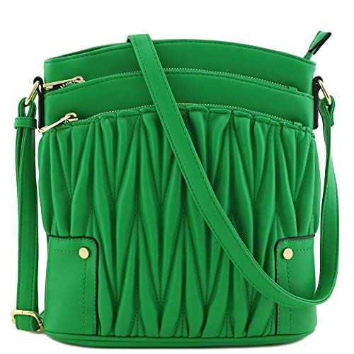 Triple Zip Pocket Large Crossbody Bag (Quilted Kelly Green) ()