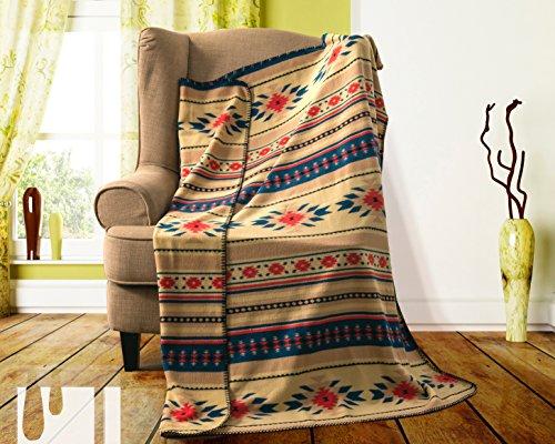 Southwest Design (Navajo Print) Comfy Fleece Throw Blanket (Navy_Beige)