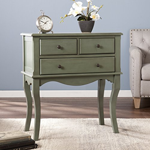 Southern Enterprises 3 Drawer Sideboard, Antiqued Agate Green Finish (Southern Enterprises Sideboard)