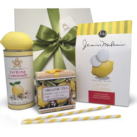 Appreciation Lemon Gift Basket: Lemon Cookies, Lemonade, Gourmet Tea in a Wooden Box. Beautiful Gift Box tied with a Satin Bow