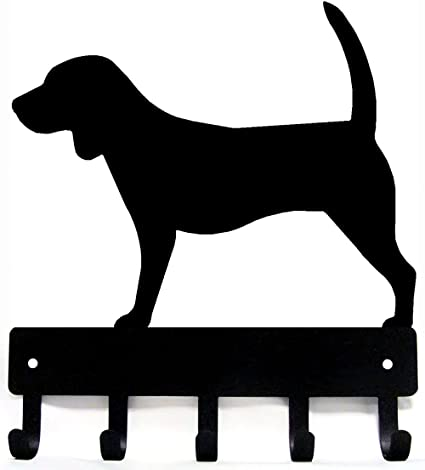 Beagle Key Rack// Dog Leash Hanger with 5 hooks Made in USA Small 6 inch