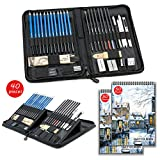 Sketch Set for Drawing with Sketch Book, 40-Piece Professional Sketch Kit and 2 50-Sheet Pads for Kids, Teens and Adults, Complete Artist Kit Includes Pencils, Erasers, Pastels, A Handy Case etc