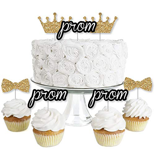 (Prom - Dessert Cupcake Toppers - Prom Night Party Clear Treat Picks - Set of)