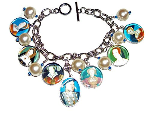 HENRY VIII AND TUDOR WIVES CHARM BRACELET SILVER PLATED HISTORICAL KING AND QUEEN