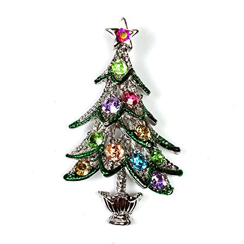 Super Cute Vintage Silver Tiered Leaf Color Crystal Christmas Tree Brooch