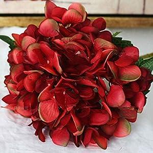 Omkuwl Silk Artificial Hydrangea Flower Bouquet Arrangement Home Wedding Christmas Decoration wine red 8