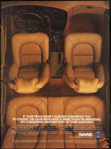 (1987 SAAB 9000 INTERIOR SEATS VINTAGE COLOR AD