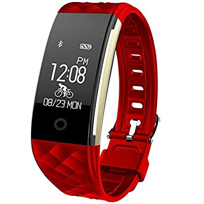 Fitness Tracker, Toprime Waterproof Bluetooth 4.0 OLED Touch Screen Smart Wristband,Heart Rate and Sleep Monitor for Android and IOS, Red
