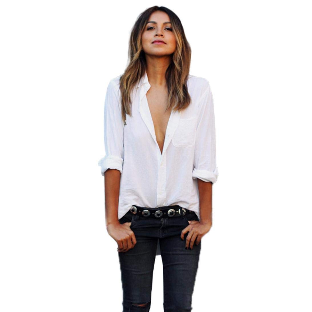 Rambling 2018 New Women Sexy Blouse Long Sleeve Shirts Large Loose Size Pocket V Neck Tops