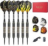 LZAQBB Steel Tip Darts Set - Darts Set with Darts Aluminum Shafts + Extra Darts PVC Shafts + Extra Dart Flight