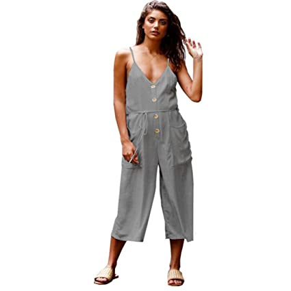 478a30003d73 Image Unavailable. Image not available for. Color  Makaor Fashion Women  Strappy V Neck Backless Strap Cotton Linen Playsuit Party Jumpsuit ...