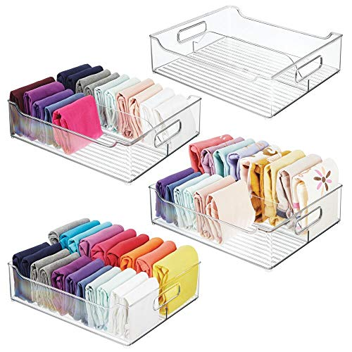 mDesign Plastic Closet Storage Bin with Handles - Divided Organizer for Shirts, Scarves, BPA Free, 14.5