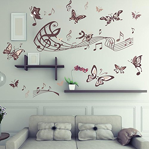 Buy cheap amaonm removable cartoon lovely hote fashion diy vinyl music butterfly wall art decor decal stickers