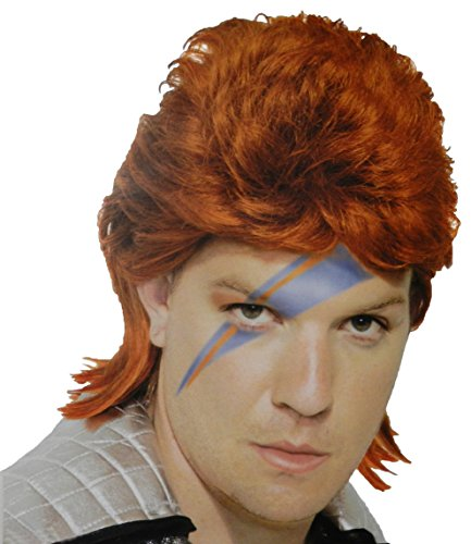 [80s Orange Bowie Rock Star Wig] (80s Rock Costumes)