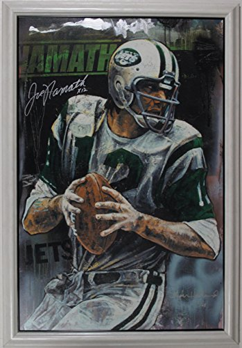 Football Lithographs Prints (STEPHEN HOLLAND & JOE NAMATH HAND SIGNED FOOTBALL LITHOGRAPH NEW YORK NY JETS)