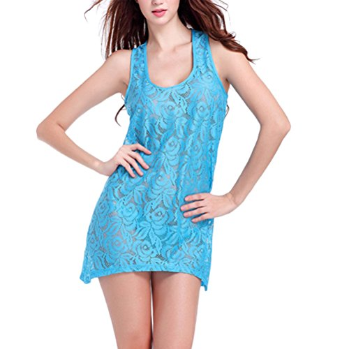 Zhhlinyuan Charming Women Lace Sleevelss Beach Dress Summer Holiday Loose Vest Sundress Lake Blue