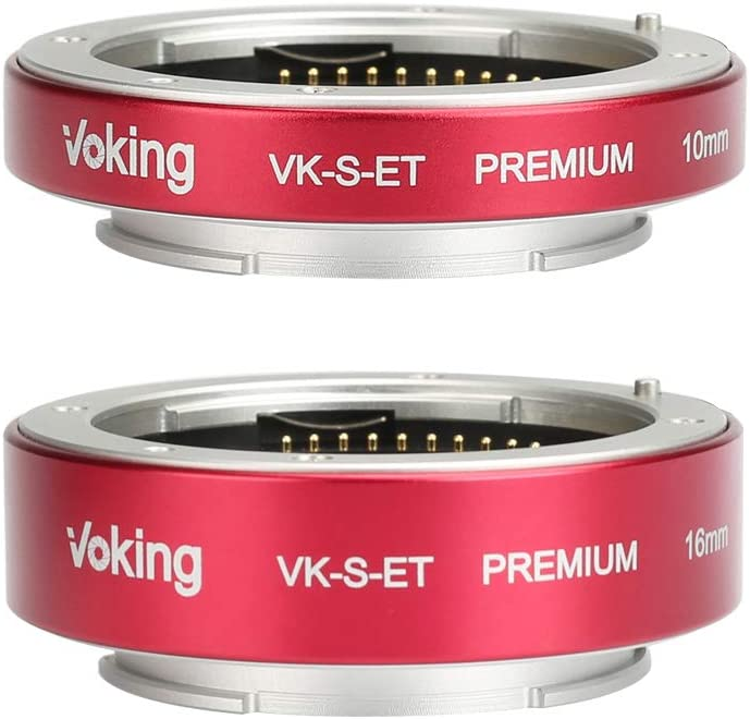 Voking VK-S-ET 10mm+16mm Metal AF Auto Focus Macro Extension Tube Adapter Ring Kit for Sony APS-C Mirrorless E-Mount NEX Alpha Camera NEX3 NEX5 NEX6 NEX7 A5000 A5100 A6000 A6300 A6500 etc