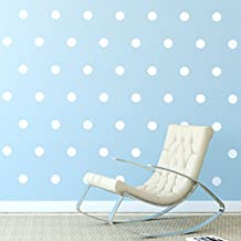 "White Polka Dots Wall Decals (2""- 210 Decals) Removable Peel And Stick Matte Finish Vinyl Décor Stickers. 3 Sheets of 2 Inch Circles. For Home, Kitchen, Living Room, Bedroom, And Nursery. (White)"