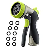 VicTsing Upgrade Garden Hose Nozzle, New Spray Water Nozzle Heavy Duty 8 Adjustable Pattern Pistol Grip Hand, High Pressure for Watering, Washing and Showering (10 Rubber Washers Included)