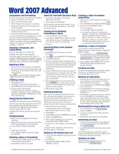 Microsoft Word 2007 Advanced Quick Reference Guide (Cheat Sheet of Instructions, Tips & Shortcuts - Laminated Card) (Word Microsoft 2007 Buy)