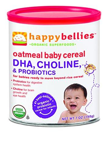 Счастливый животы Натуральная Детская каша с DHA, холин и пробиотиков, овсяные хлопья, 7-Унция Канистры (в упаковке 6)