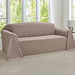 Brylanehome Rosanna Jacquard Extra-Long Sofa Throw Slipcover (Beach,0)