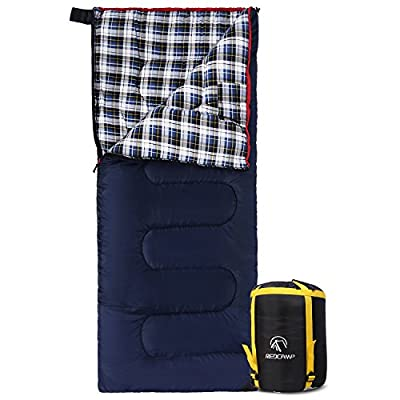 """REDCAMP Cotton Flannel Sleeping bags for Camping, 23F/-5C 3-season Warm and Comfortable, Envelope Blue (75""""x33"""")"""