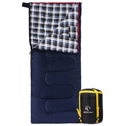 "REDCAMP Cotton Flannel Sleeping Bag for Camping, 41F/5C Cold Weather Warm and Comfortable, Envelope Blue 4lbs(75""x33"")"