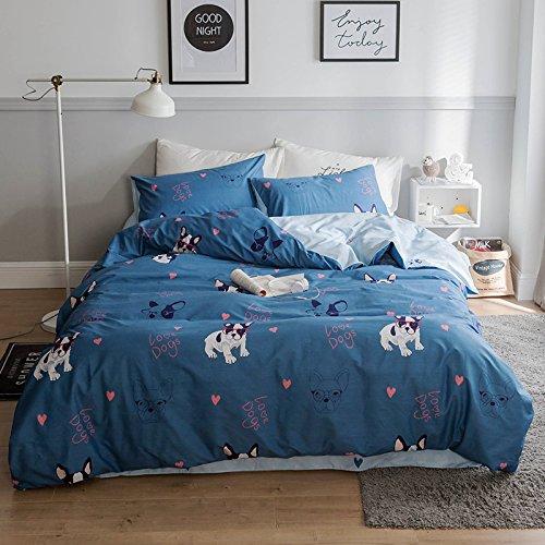 Duvet Cover Set,Boys Bull Dog Printed Bedding Sets-1 Duvet Cover 2 Pillowcases.Kids Bedding Duvet Cover Pillowcases Zipper Closure 4 Corner Ties(Blue, Twin)