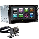 Ouku 6.95-Inch HD Universal Double DIN 2DIN Indash Car Stereo Video DVD/MP4/MP3/CD Player With Hands-Free Bluetooth, ATV,Touchscreen, iPOD,RDS,USB/SD, Aux-In, Steering Wheel Control Rearview Parking Camera