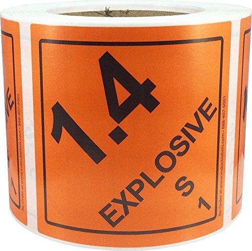 Hazard Class 1 D.O.T. Explosives 1.4S Hazmat Labels 4x4 Inch Square 500 Adhesive Labels - Shipping Hazardous Labels