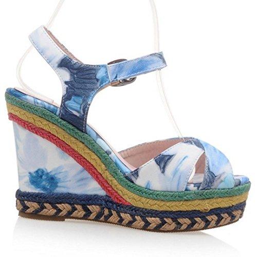Blue Zanpa de 2 Cuna Moda Sandalia Tacon Mujer 161UT7