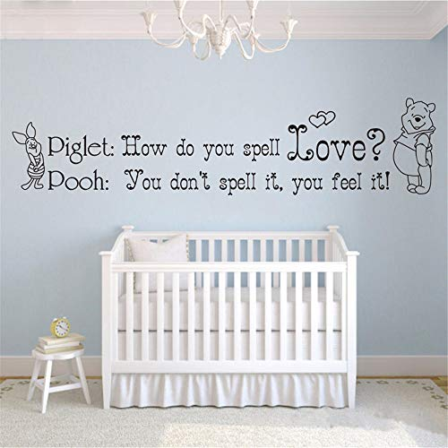 (Winnie The Pooh & Piglet Home Decoration Baby Quote Wall Decal How do You Spell Love Nursery Removable Wall Stickers Home)