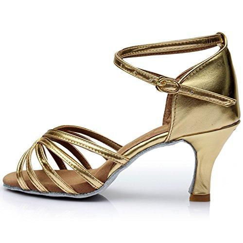 Azbro Mujer Moda Zapato de Baile Latín Correa Cruzada Puntera Abierta Dorado