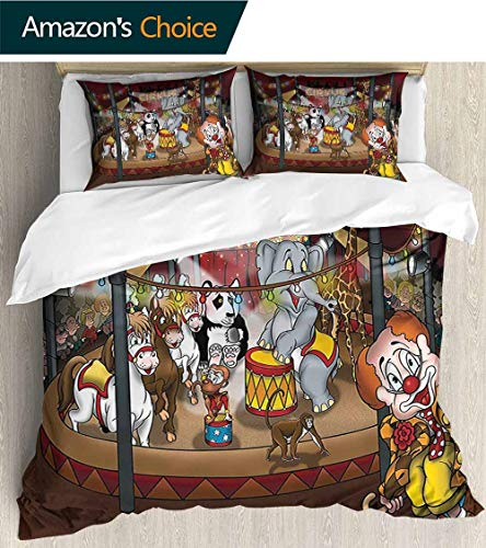 """3-piece lightweight printed quilt cover 103""""x 90"""",The bedspread features a floral motif in contemporary colours,Circus Decor Collection Circus Show Horses Elephants Monkey Panda Lights Cartoon Illustr"""
