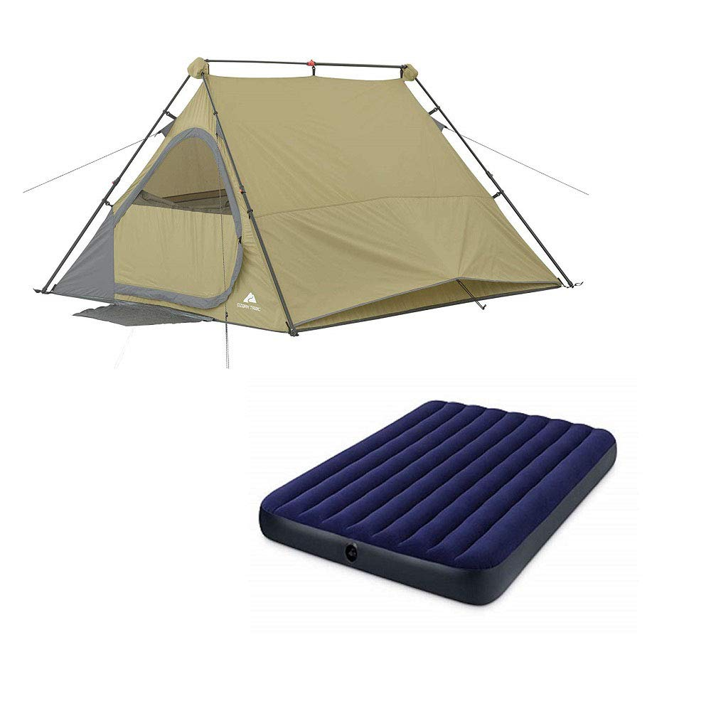 OZARK Trail Family Cabin Tent (Khaki, 4 Person with Airbed)