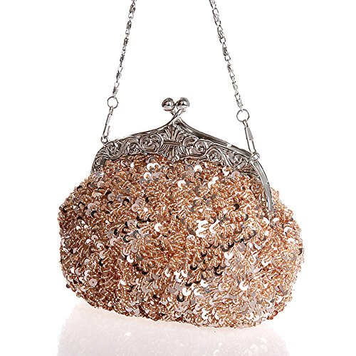 Clutch Design Bag Sequin Blue Large Women Bag Purse Evening Beaded Flower q6AwUBX