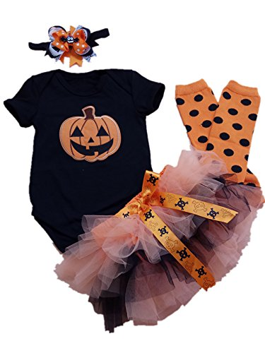 AISHIONY Baby Girls 1st Halloween Costume Tutu Outfit Newborn Party Dress 4PC L