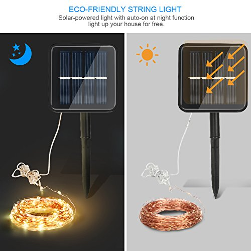 Moreplus Solar String Lights 8 Modes Copper Wire Lights Indoor/Outdoor Waterproof Decorative String Lights for Garden, Patio, Home, Yard Party, Wedding, Christmas Warm White (100 LED - 08)