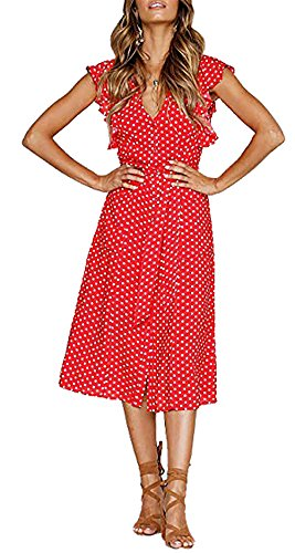 BTFBM Women's 2018 V Neck Polka dot High Waist Tie Bow Streetwear Boho Maxi Dress Without Belt (Red, Medium) by BTFBM (Image #3)