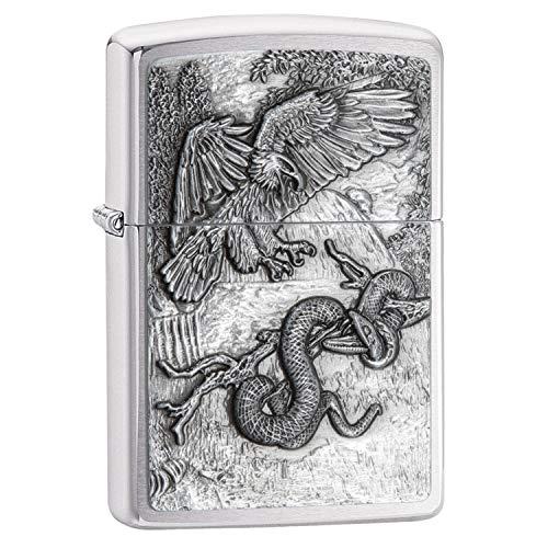 Cue Eagle - Zippo Eagle vs Snake Emblem Design Brushed Chrome Lighter