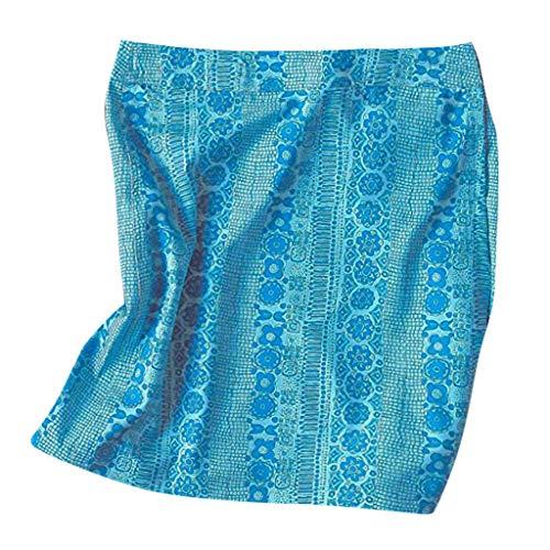 Henwerd Summer Women's Fashion Causal Print Quick Wrap Bikini Cover-up Multitasks Travel Beach High Waist Skirt (Sky Blue, -