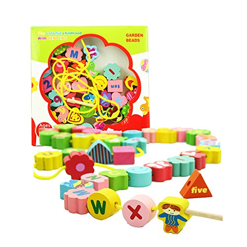 Rabing Colorful Wooden Threading Toddler